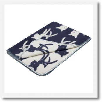 Bambi organic cotton navy baby blanket