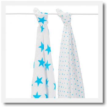 Aden & Anais, Classic Swaddle, Fluro Blue - Set Of 2