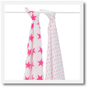 Aden & Anais, Classic Swaddle, Fluro Pink - Set Of 2