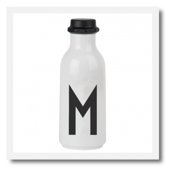 Design Letters Personal Drinking Bottle. White water bottle with black personal letter initial