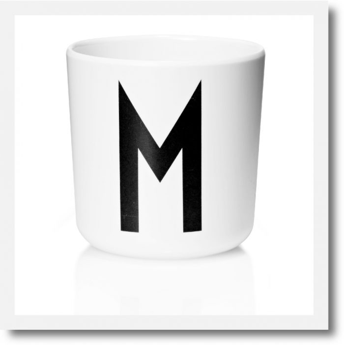 Design Letters Initial Melamine Cups - showing letter M example