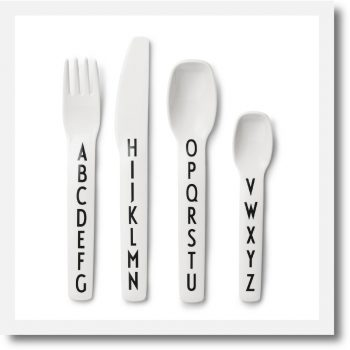 Design Letters Alphabet Melamine Cutlery Set showing Fork, knife, spoon and teaspoon
