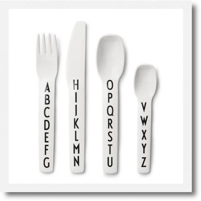 Design Letters Alphabet Melamine Cutlery Set showing Fork, knife, spoon and teaspoon