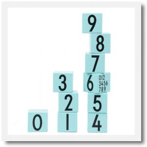 Design letters number blocks blue