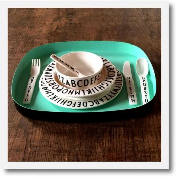 Design Letters Luxury Kids Dinner Set with tray Turquoise. Monochrome melamine 4 piece set on a turquoise metal tray