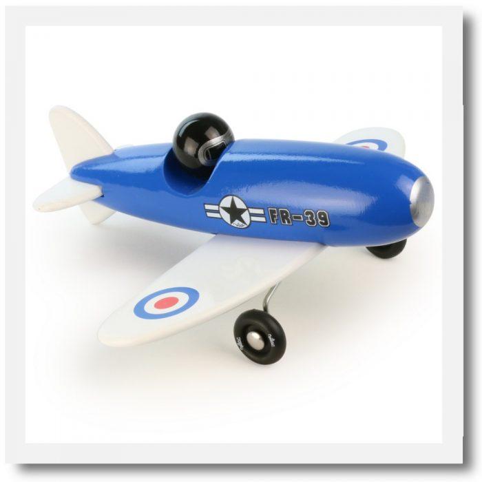 Vilac blue aerobatic toy plane