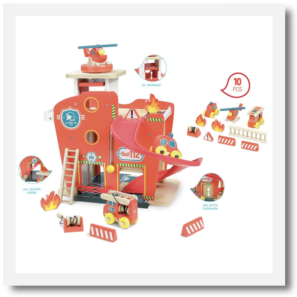 Vilac Vilacity Toy Fire Station Wooden Role Play Toy Mee Mee London